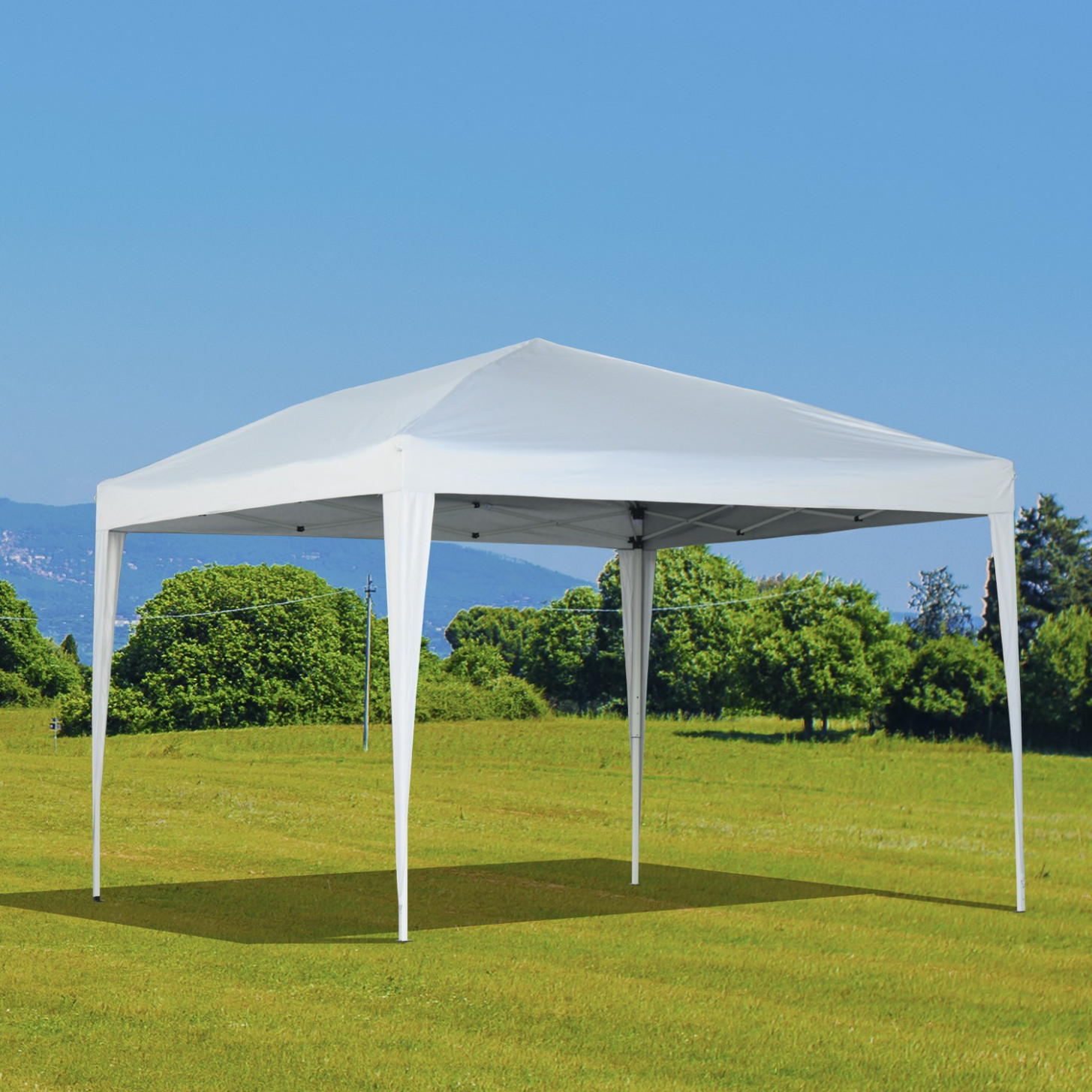 Outsunny 10'x10' Easy Folding Pop Up Tent Party Wedding Tent Gazebo Canopy Without Walls (White)Aosom