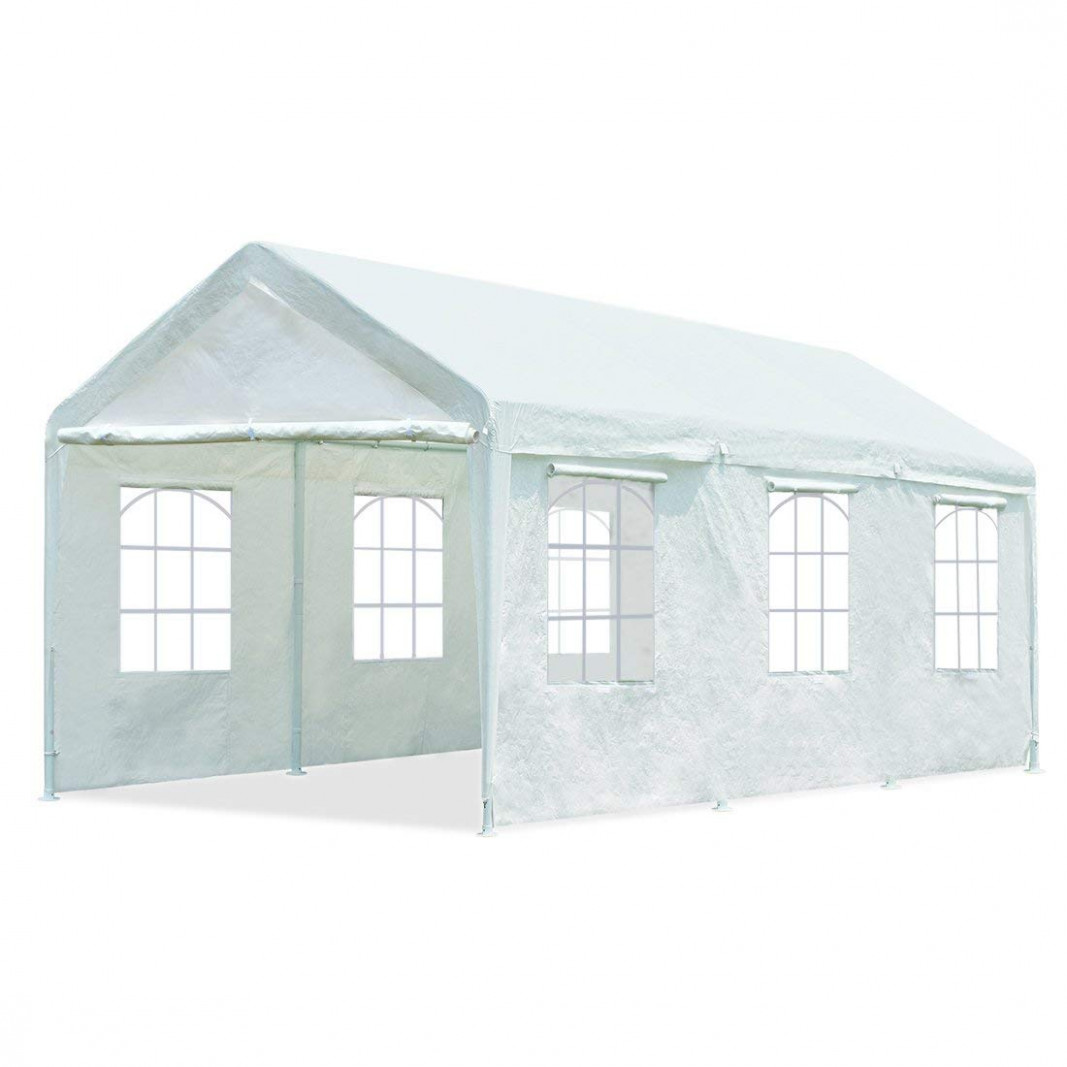 10'x20' Heavy Duty White Portable Carport Sidewall With ...