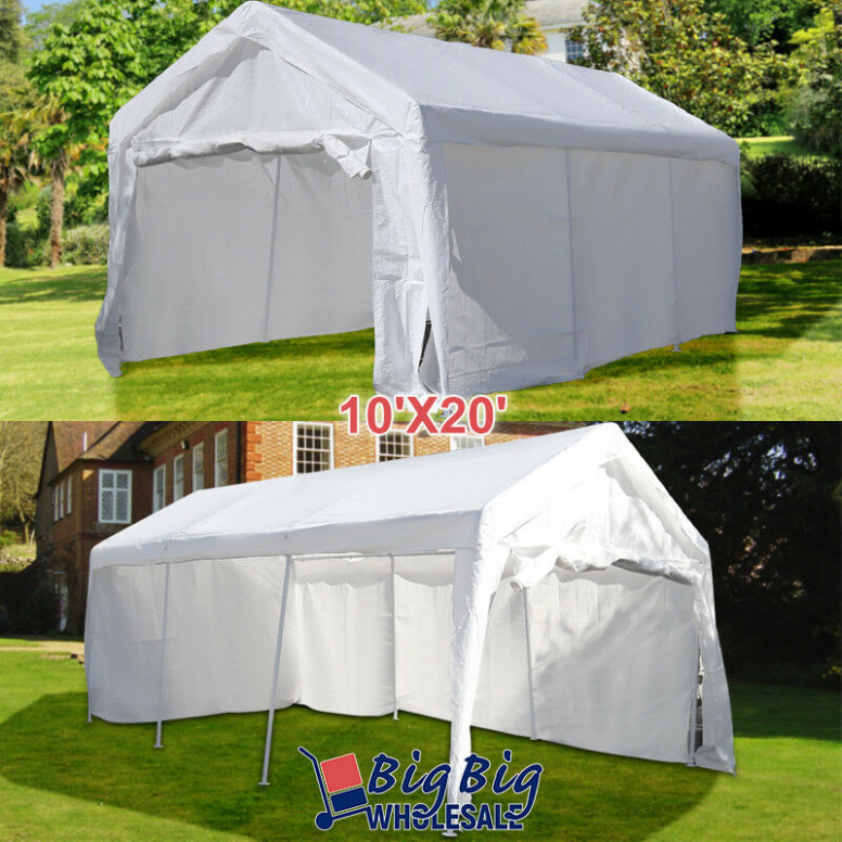10'x20' White Heavy Duty Portable Garage Carport Car ...