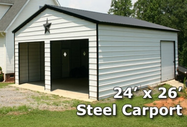 7x7 Fully Enclosed Steel Garage Carport - Installation Included