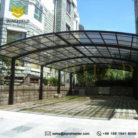 Aluminum Carport Awnings for 2 Cars - Clear Top Parking Canopy