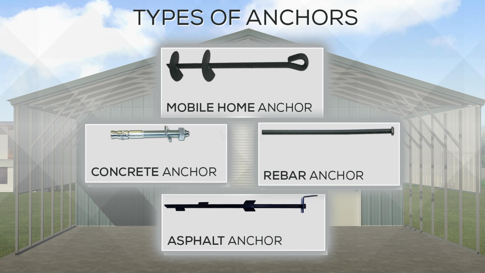 Different Types of Anchors for Metal Carports and Metal Buildings